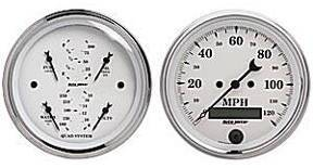 "Instrument Gauges - Auto Meter Old Tyme White, 3-3/8"" Quad Gauge & Speedo (Electric) Photo Main"