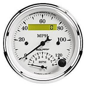 "Instrument Gauges - Auto Meter Old Tyme White, 3-3/8"" Speedo Tach Combo Photo Main"