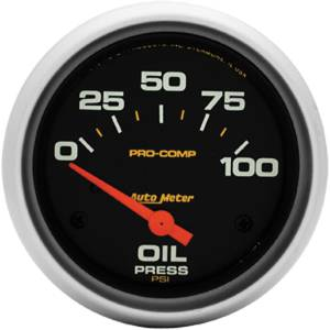 "Instrument Gauges - Auto Meter Pro Comp Series 2-5/8"" Oil Pressure Gauge. Electric 0-100 Psi., Short Sweep Photo Main"
