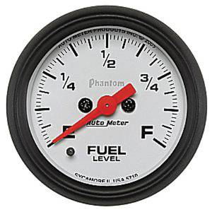 "Instrument Gauges - Auto Meter Phantom Series 2-1/16"" Fuel Level Gauge. Electric Fully Programmable 0-280 Ohm., Short Sweep Photo Main"