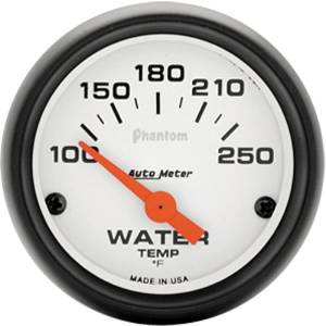 "Instrument Gauges - Auto Meter Phantom Series 2-1/16"" Temp Gauge. Electric 100-250 Deg., Short Sweep Photo Main"