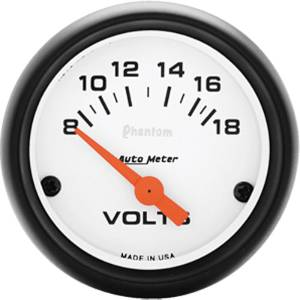 "Instrument Gauges - Auto Meter Phantom Series 2-1/16"" Voltage Gauge. Electric 8-18 Volts, Full Sweep Photo Main"