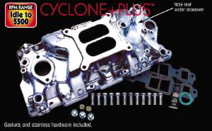 Intake Manifold -Polished Cyclone+Plus, Chevy Small Block (Non Egr) With Gaskets & Hardware Photo Main