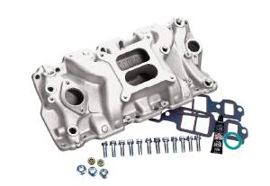 Intake Manifold -Satin Cyclone+Plus, Chevy Small Block (Non Egr) With Gaskets & Hardware Photo Main
