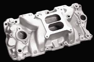 Intake Manifold -Satin Typhoon, Chevy Small Block (Non Egr) Photo Main