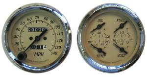 "Instrument Gauges - 3-3/8"" Quad Mechanical Speedo, Tan Face, Black Pointers With Stainless Bezels  Photo Main"
