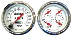 "Instrument Gauges, 3-3/8"" Quad Mechanical Speedo, White Face  Photo Main"