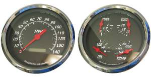 "Instrument Gauges - 5"" Quad Electronic Speedo, Black Face Photo Main"