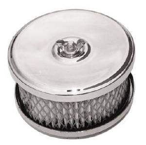 "Air Cleaner, Chrome 4"" X 2-7/8"" Muscle Car Style Paper Element & Raised Base Photo Main"