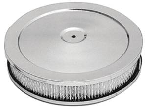 "Air Cleaner, Chrome 10"" X 2"" Muscle Car Style -Washable Element & Raised Base Photo Main"