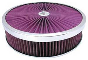 "Air Cleaner, Chrome 14"" X 3"" Super Flow Filter -Washable Element & Dominator Base Photo Main"