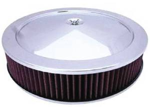 "Air Cleaner, Stainless 14"" X 3"" Muscle Car Style -Washable Element & Recessed Base Photo Main"