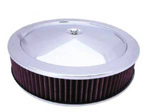 "Air Cleaner, Stainless 14"" X 3"" Muscle Car Style - Washable Element & Flat Base Photo Main"