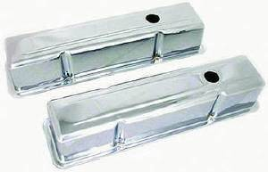 Valve Cover Chrome Small Block Chevy 283-350 Tall  - Unbaffled (Includes Grommets) Photo Main