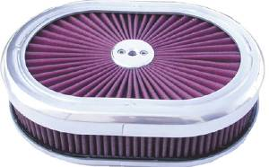 "Air Cleaner, Polished Aluminum 12"" X 2"" Oval Super Flow Filter -Washable Element Photo Main"