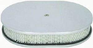 "Air Cleaner, Chrome Aluminum 12"" X 2"" Oval -Plain & Paper Element Photo Main"