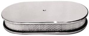 "Air Cleaner, Polished Aluminum 15"" X 2"" Oval -Plain & Paper Element Photo Main"