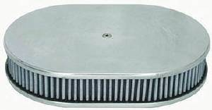 "Air Cleaner, Polished Aluminum 12"" X 2"" Oval -Plain & Washable Element Photo Main"