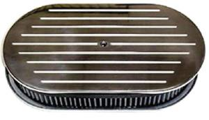 "Air Cleaner, Polished Aluminum 15"" X 2"" Oval -Ball Milled & Washable Element Photo Main"