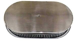 "Air Cleaner, Polished Aluminum 15"" X 2"" Oval -Plain & Washable Element Photo Main"