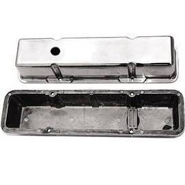 Valve Cover Chrome Aluminum Small Block Chevy Tall  - Plain With Hole & Baffled (Includes Grommets) Photo Main