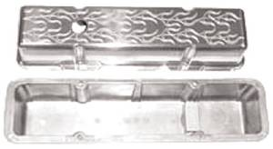 Valve Cover Polished Aluminum Small Block Chevy Tall - Flame With Hole & Baffled (Includes Grommets) Photo Main
