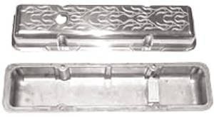 Valve Cover Polished Aluminum Small Block Chevy Short  - Flame With Hole & Baffled (Includes Grommets) Photo Main