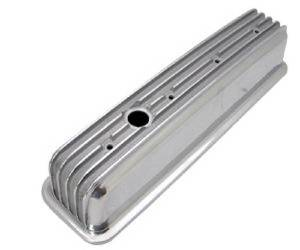 "Valve Cover Polished Aluminum Small Block Chevy 1987-Up ""Finned"" - Tall With Hole Photo Main"