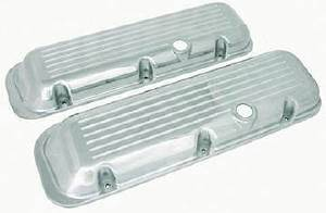 Valve Cover Chrome Aluminum Big Block Chevy Short - Ball Milled With Hole & Baffled (Grommets & Bolts) Photo Main