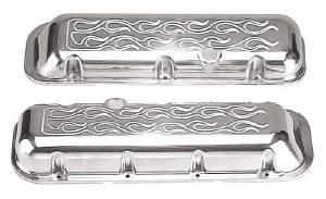 Valve Cover Polished Aluminum Big Block Chevy Short - Flame With Hole & Baffled (Grommets & Bolts) Photo Main