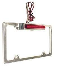 License Plate Frame - Chromed Aluminum With Light & Led Third Brake Light Photo Main