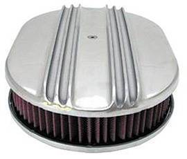 "Air Cleaner, Polished Aluminum 12"" X 2"" Finned Oval With Washable Element Photo Main"