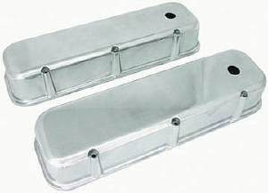 Valve Cover Polished Aluminum Big Block Chevy Tall  - Plain With Hole & Baffled (Grommets & Bolts) Photo Main