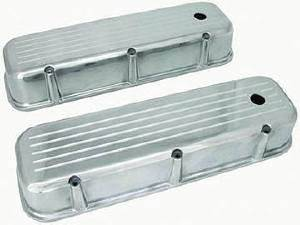 Valve Cover Polished Aluminum Big Block Chevy Tall  - Ball Milled With Hole & Baffled (Grommets & Bolts) Photo Main
