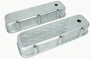 Valve Cover Polished Aluminum Big Block Chevy Tall - Flame With Hole & Baffled (Grommets & Bolts) Photo Main