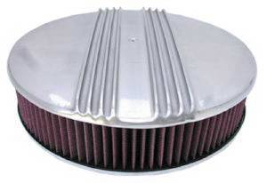 "Air Cleaner, Polished Aluminum 14"" X 3"" Round -Finned, Washable Element & Hi-Lip Base Photo Main"