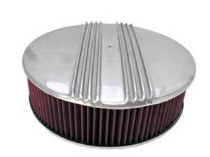 "Air Cleaner, Polished Aluminum 14"" X 4"" Round-Finned, Washable Element & Flat Base Photo Main"