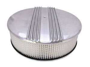 "Air Cleaner, Polished Aluminum 14"" X 4"" Round -Finned, Paper Element & Hi-Lip Base Photo Main"