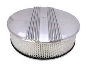"Air Cleaner, Polished Aluminum 14"" X 4"" Round-Finned, Paper Element & Off-Set Base Photo Main"