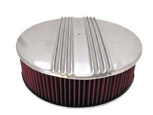 "Air Cleaner, Polished Aluminum 14"" X 4"" Round  -Finned, Washable Element & Off-Set Base Photo Main"