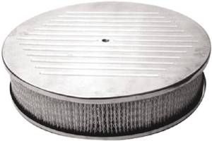 "Air Cleaner, Polished Aluminum 14"" X 3"" Round -Ball Milled, Paper Element & Flat Base Photo Main"