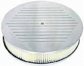 "Air Cleaner, Polished Aluminum 14"" X 3"" Round -Ball Milled, Paper Element & Off-Set Base Photo Main"