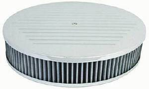 "Air Cleaner, Polished Aluminum 14"" X 3"" Round -Ball Milled, Washable Element & Recessed Base Photo Main"
