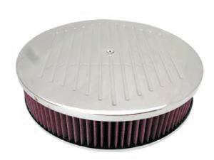 "Air Cleaner, Polished Aluminum 14"" X 3"" Round -Ball Milled, Washable Element & Hi-Lip Base Photo Main"