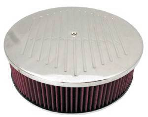 "Air Cleaner, Polished Aluminum 14"" X 4"" Round  -Ball Milled, Washable Element & Off-Set Base Photo Main"