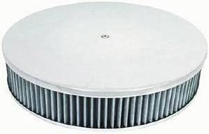 "Air Cleaner, Polished Aluminum 14"" X 3"" Round  -Plain, Washable Element & Hi-Lip Base Photo Main"