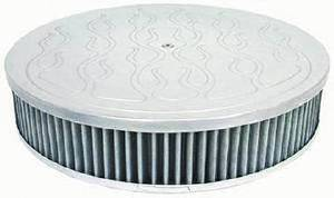 "Air Cleaner, Polished Aluminum 14"" X 3"" Round -Flame, Washable Element & Recessed Base Photo Main"