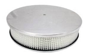 "Air Cleaner, Polished Aluminum 14"" X 3"" Round  -Plain, Paper Element & Dominator Base Photo Main"
