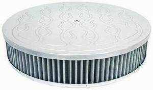 "Air Cleaner, Polished Aluminum 14"" X 3"" Round  -Flame, Washable Element & Dominator Base Photo Main"