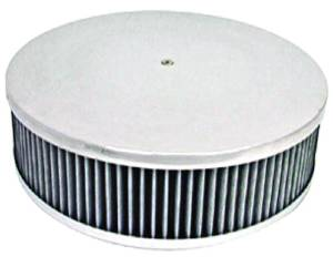 "Air Cleaner, Polished Aluminum 14"" X 4"" Round -Plain, Washable Element & Flat Base Photo Main"